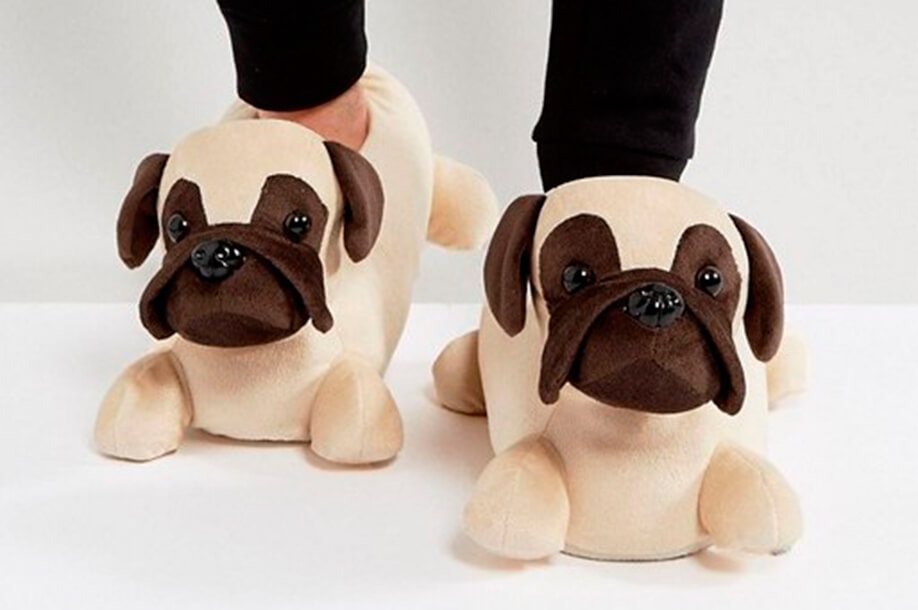 Домашние тапочки ASOS Pug Slippers In Brown
